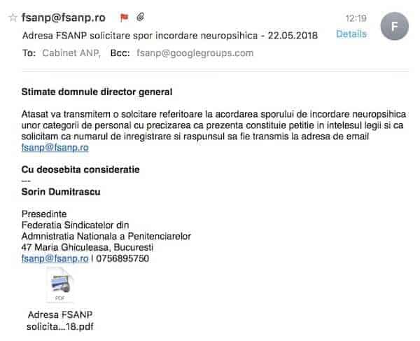 Adresa FSANP solicitare spor incordare  psihica - 22.05.2018