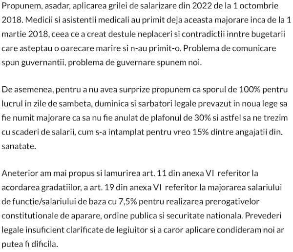 Propuneri referitoare la legea salarizarii