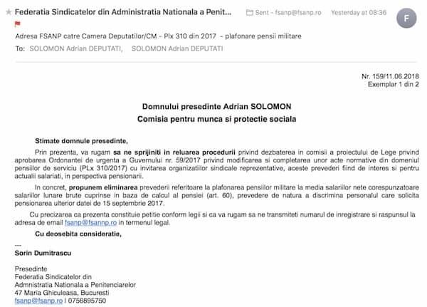 Adresa FSANP catre Camera Deputatilor/CM - Plx 310 din 2017 - plafonare pensii militare