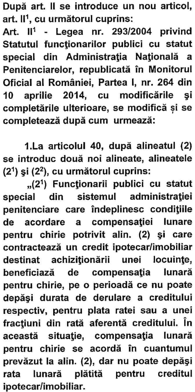 Amendamente la compensatia pentru chirie