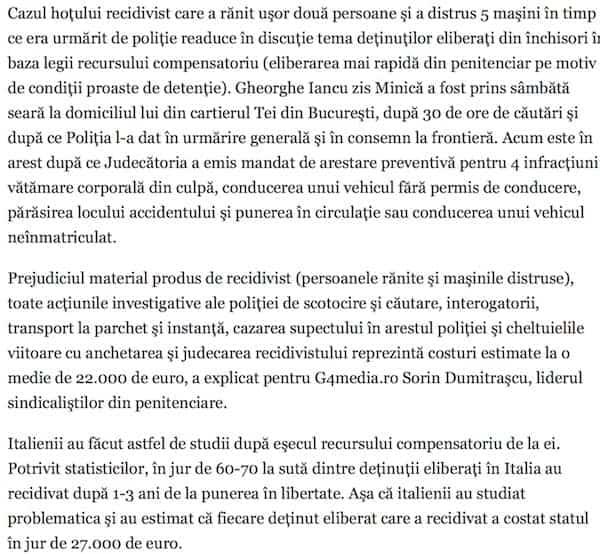 """Fiecare detinut eliberat din """"promotia Toader"""" care recidiveaza ne costa 22.000 de euro"""