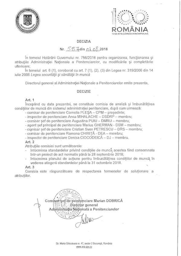 Standarde privind conditiile de lucru pentru personalul din peniteciare