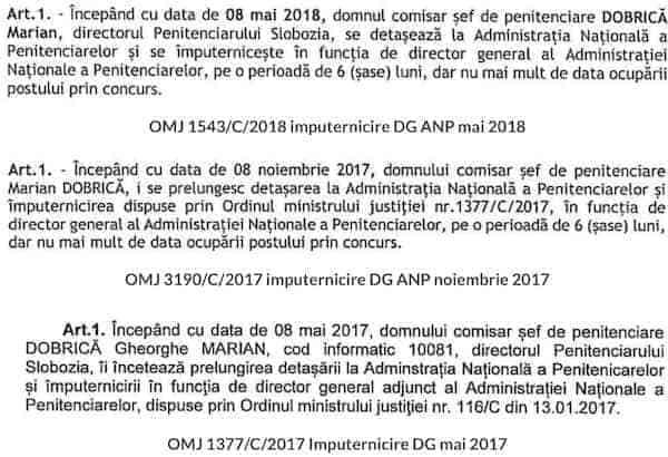 Ordine de imputernicire ilegala a lui Marian Dobrica in functia de director general