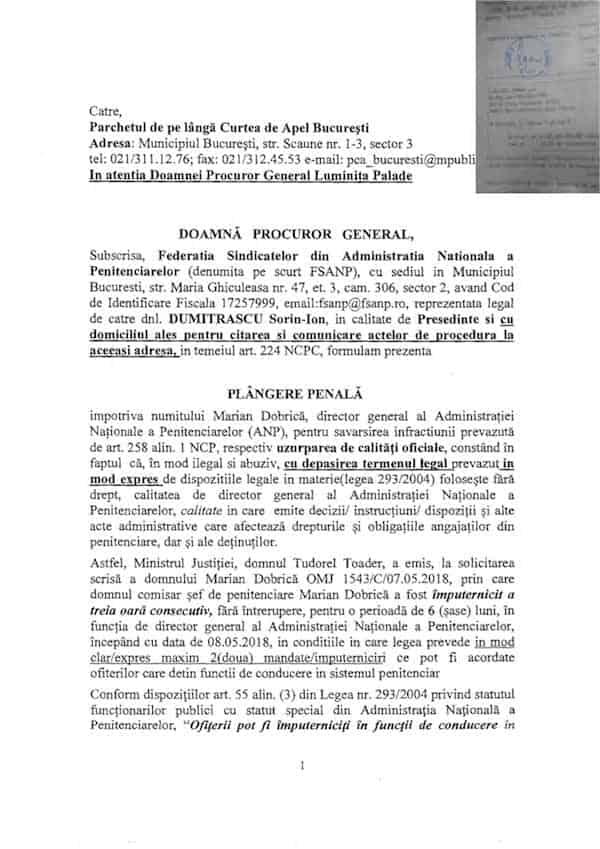 Plangere Marian Dobrica - uzurpare de calitati oficiale 16092018