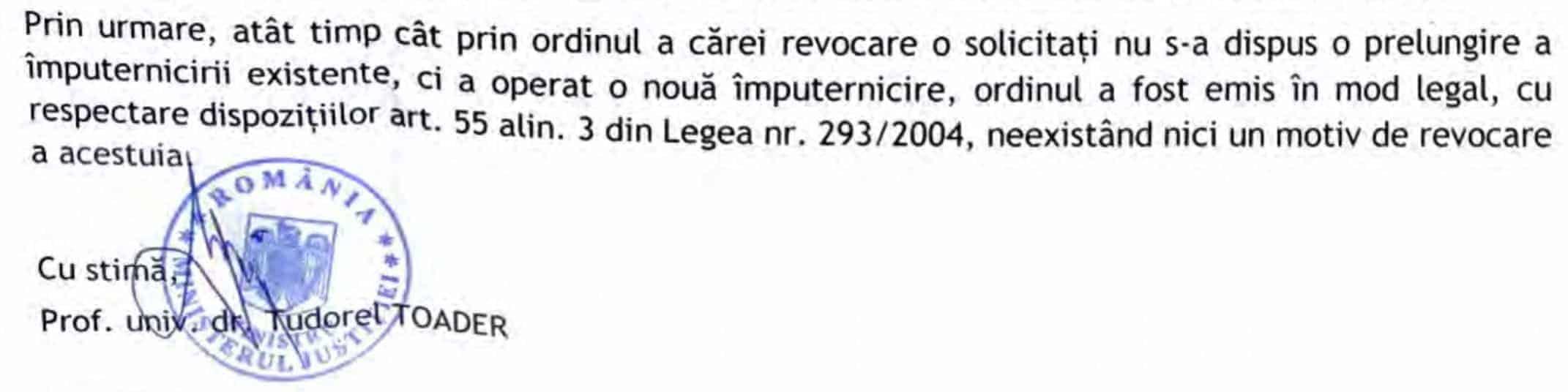 Raspuns Ministerul Justitiei - imputernicire ilegala Marian Dobrica