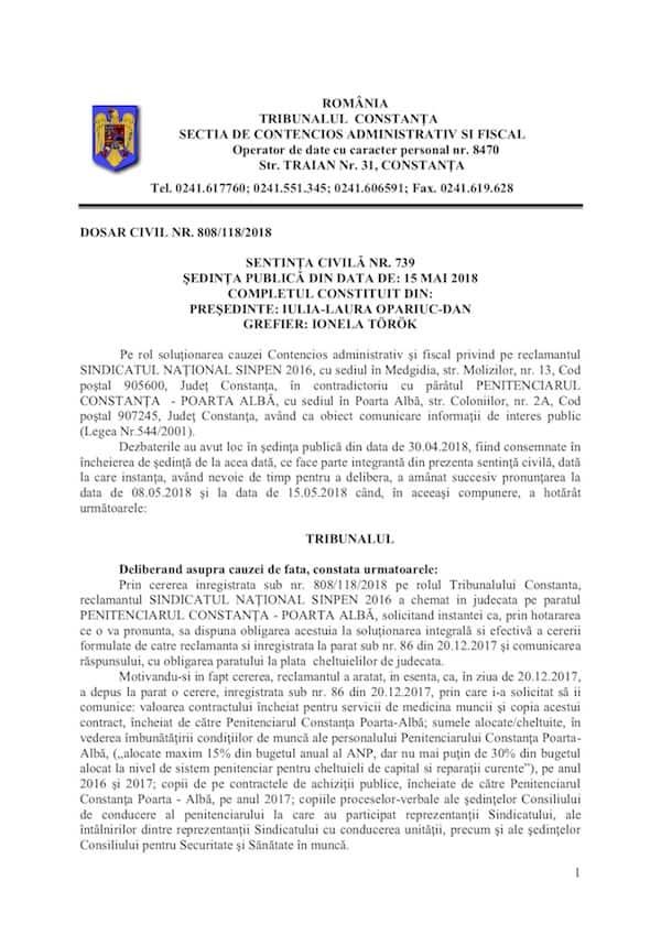 Sentinta civila nr. 739/808-118-2018 Poarta Alba