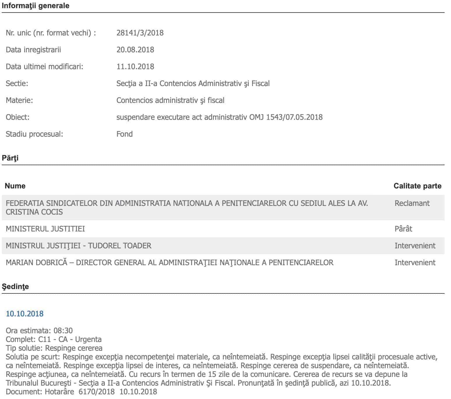 Dosar 28141:3:2018 - suspendare executare act administrativ OMJ 1543:07.05.2018