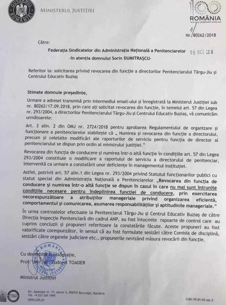 Adresa ANP revocare directori Buzias si