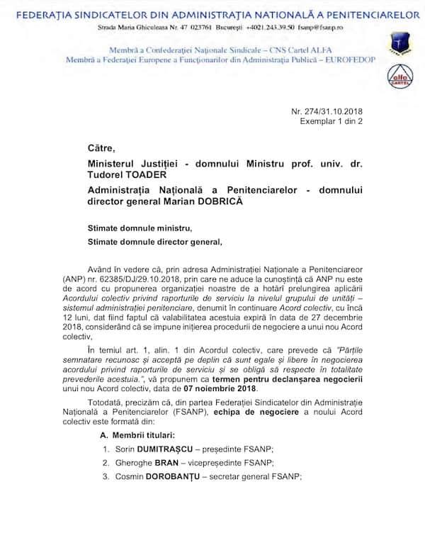 Adresa FSANP stabilire data si desemnare membri negociere Acord colectiv