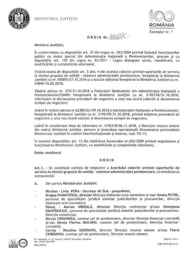 OMJ -Comisia de negociere a Acordului colectiv privind raporturile de serviciu la nivelul grupului de unități sitemul administratiei penitenciare