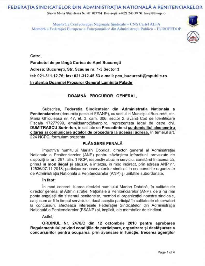 Plangere penala Marian Dobrica - interzicere observatori sindicali