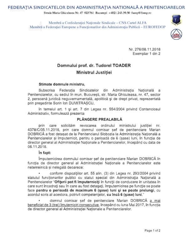 Plangere prealabila FSANP imputernicire Marian Dobrica DG ANP