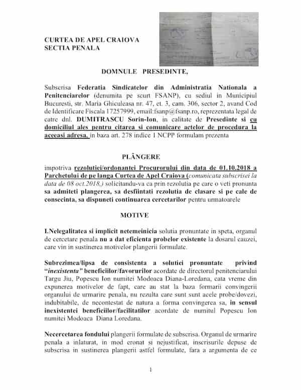 Plangere rezolutie clasare plangere Popescu Ion - mita mascata in sponsorizari - Penitenciarul Targu Jiu