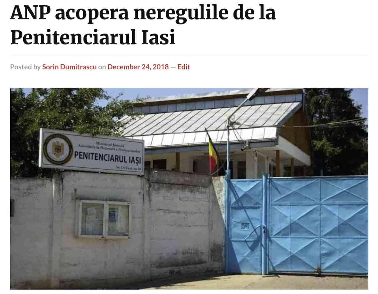 ANP acopera neregulile de la Penitenciarul Iasi