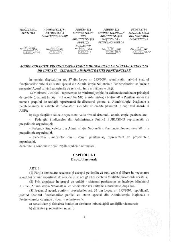 Acord Colectiv privind raporturile de serviciu 2019 - 2021