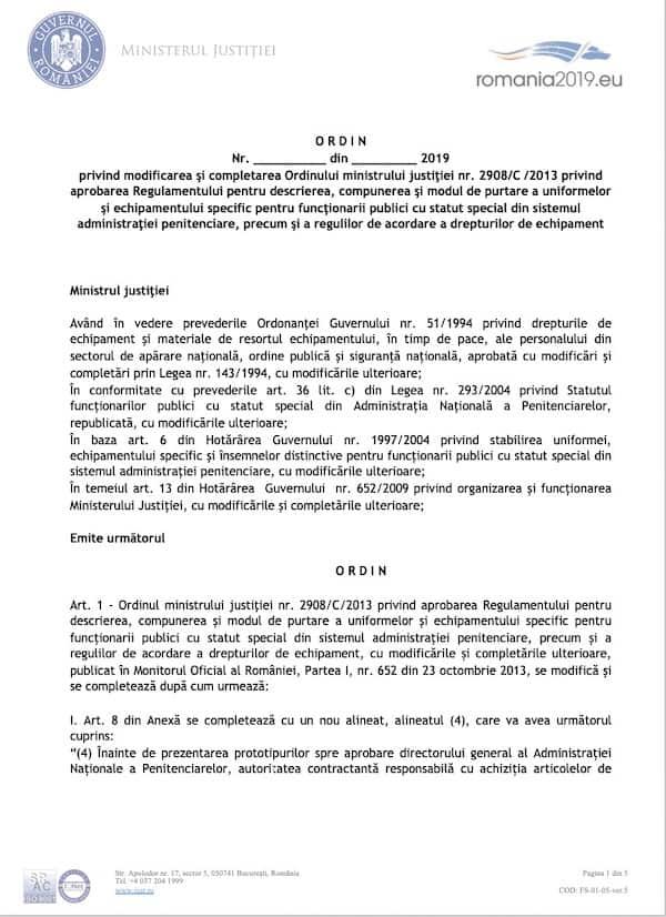 Ordinul privind uniformele si echipamentul agentilor si ofiterilor de penitenciare, propunere de modificare