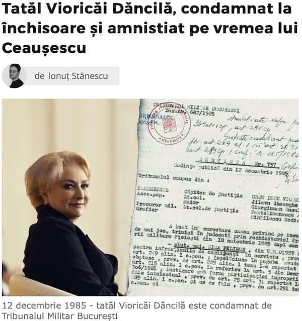 Tatal Vioricai Dancila, condamnat la inchisoare si amnistiat pe vremea lui Ceausescu