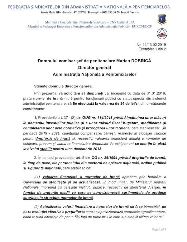 Adresa FSANP majorare norma de hrana angajati penitenciare - 2019