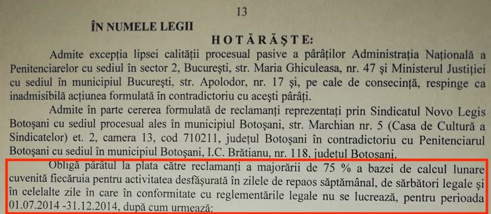 Extras sentinta Sindicat Novo Legis din Penitenciarul Botasani - 75% ore suplimentare