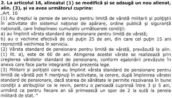 Proiect modificare lege pensii militare (Senat B14_2019) - mentinere in activitate
