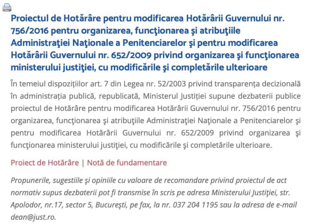 Proiectul de Hotarare pentru modificarea Hotararii Guvernului nr. 756/2016 pentru organizarea, functionarea si atributiile Administratiei Nationale a Penitenciarelor