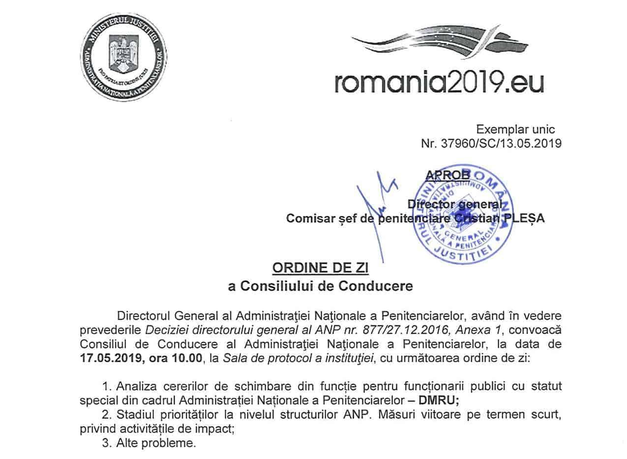 Ordine de zi - Consiliu de conducere ANP 17 mai 2019