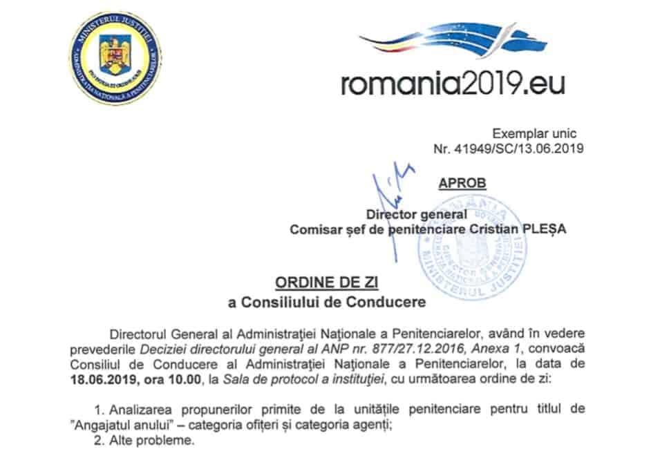Consiliu de conducere ANP 18 iunie 2019 ora 10.00