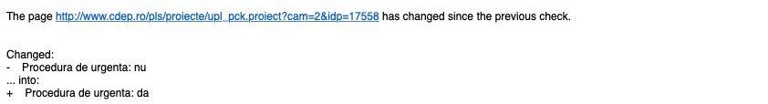 Raport de monitorizare modificari http://www.cdep.ro/pls/proiecte/upl_pck.proiect?cam=2&idp=17558